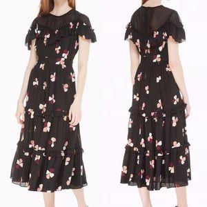 Kate Spade Dusk Buds Ruffle Floral Midi Dress Lace